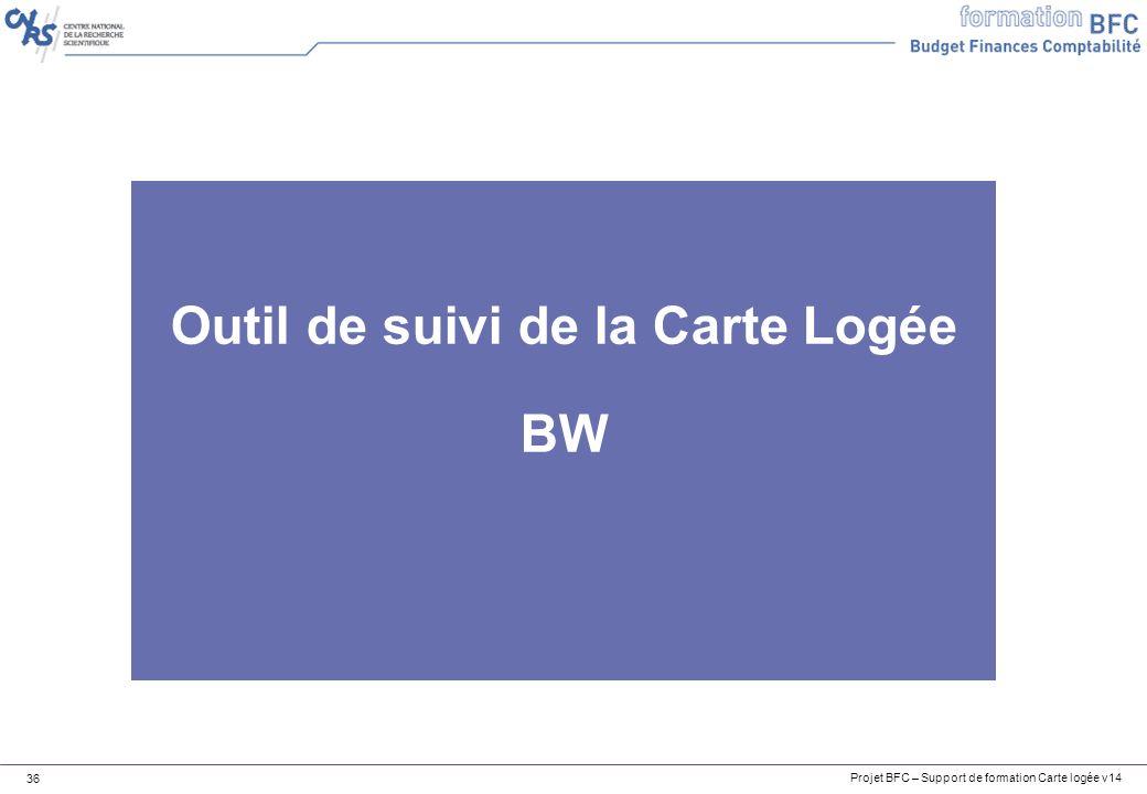 Projet BFC – Support de formation Carte logée v14 36 Outil de suivi de la Carte Logée BW