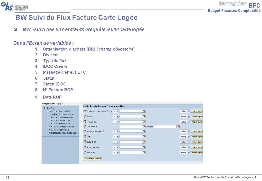 Projet BFC – Support de formation Carte logée v14 39 BW Suivi du Flux Facture Carte Logée BW /suivi des flux entrants /Requête /suivi carte logée Dans