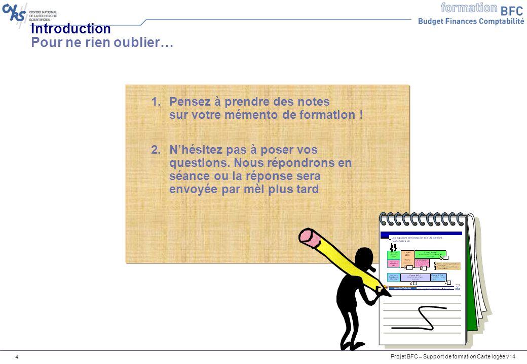 Projet BFC – Support de formation Carte logée v14 4 1.Pensez à prendre des notes sur votre mémento de formation ! 2.Nhésitez pas à poser vos questions