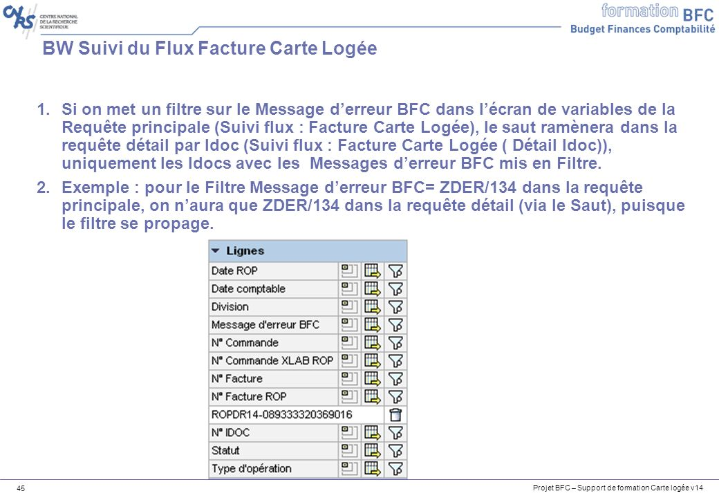 Projet BFC – Support de formation Carte logée v14 45 BW Suivi du Flux Facture Carte Logée 1.Si on met un filtre sur le Message derreur BFC dans lécran