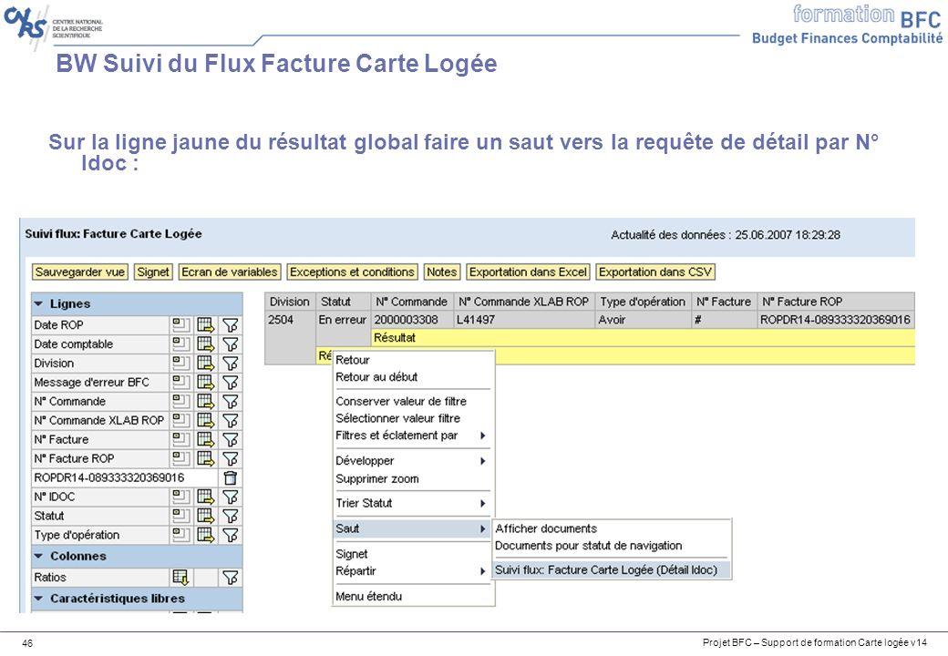 Projet BFC – Support de formation Carte logée v14 46 BW Suivi du Flux Facture Carte Logée Sur la ligne jaune du résultat global faire un saut vers la requête de détail par N° Idoc :