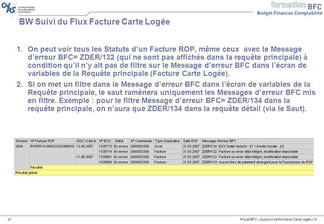 Projet BFC – Support de formation Carte logée v14 47 BW Suivi du Flux Facture Carte Logée 1.On peut voir tous les Statuts dun Facture ROP, même ceux avec le Message derreur BFC= ZDER/132 (qui ne sont pas affichés dans la requête principale) à condition quil ny ait pas de filtre sur le Message derreur BFC dans lécran de variables de la Requête principale (Facture Carte Logée).
