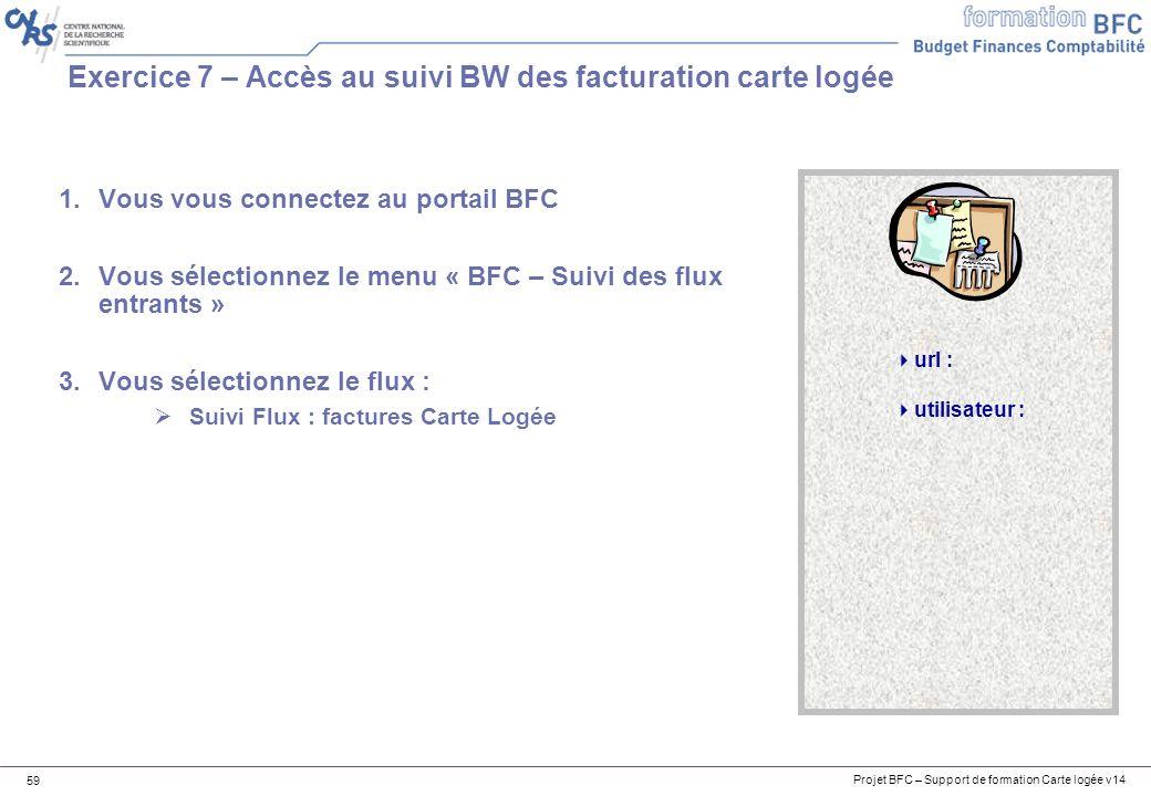 Projet BFC – Support de formation Carte logée v14 59 Exercice 7 – Accès au suivi BW des facturation carte logée url : utilisateur : 1.Vous vous connectez au portail BFC 2.Vous sélectionnez le menu « BFC – Suivi des flux entrants » 3.Vous sélectionnez le flux : Suivi Flux : factures Carte Logée