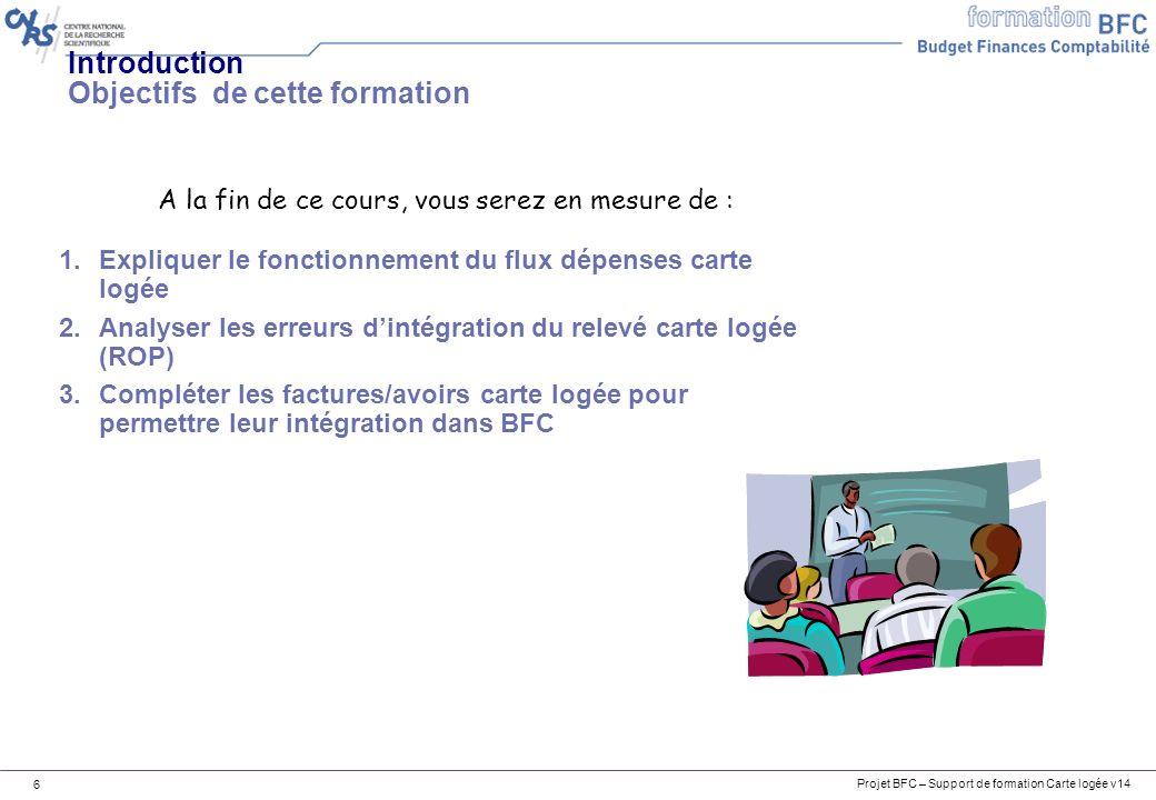Projet BFC – Support de formation Carte logée v14 6 Introduction Objectifs de cette formation 1.Expliquer le fonctionnement du flux dépenses carte log
