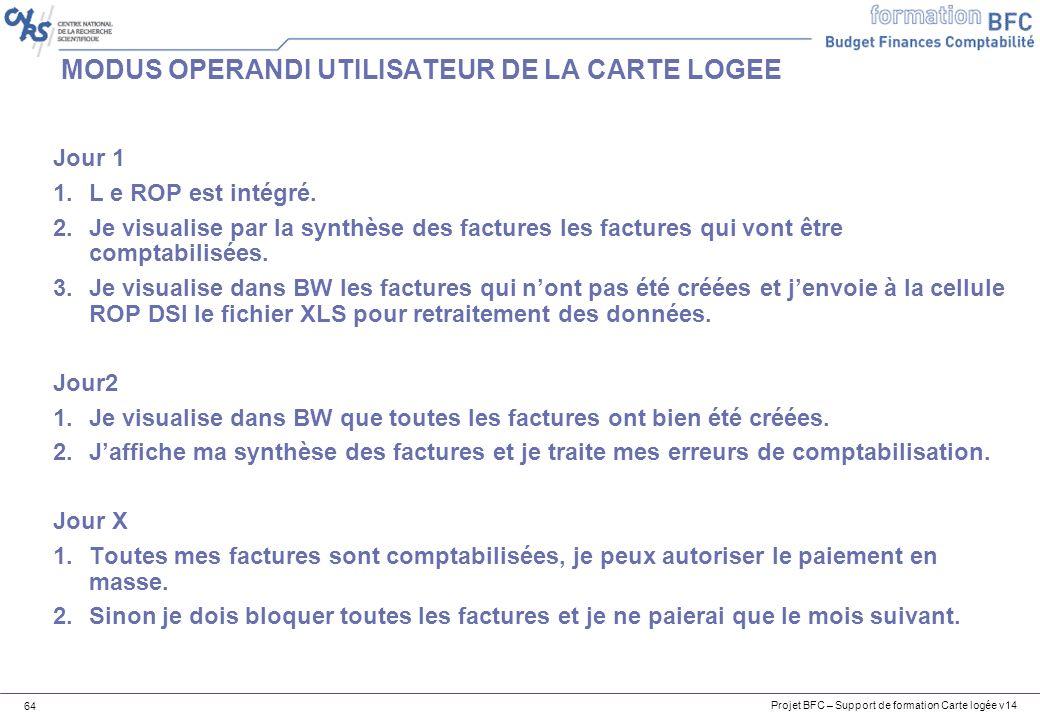 Projet BFC – Support de formation Carte logée v14 64 MODUS OPERANDI UTILISATEUR DE LA CARTE LOGEE Jour 1 1.L e ROP est intégré.