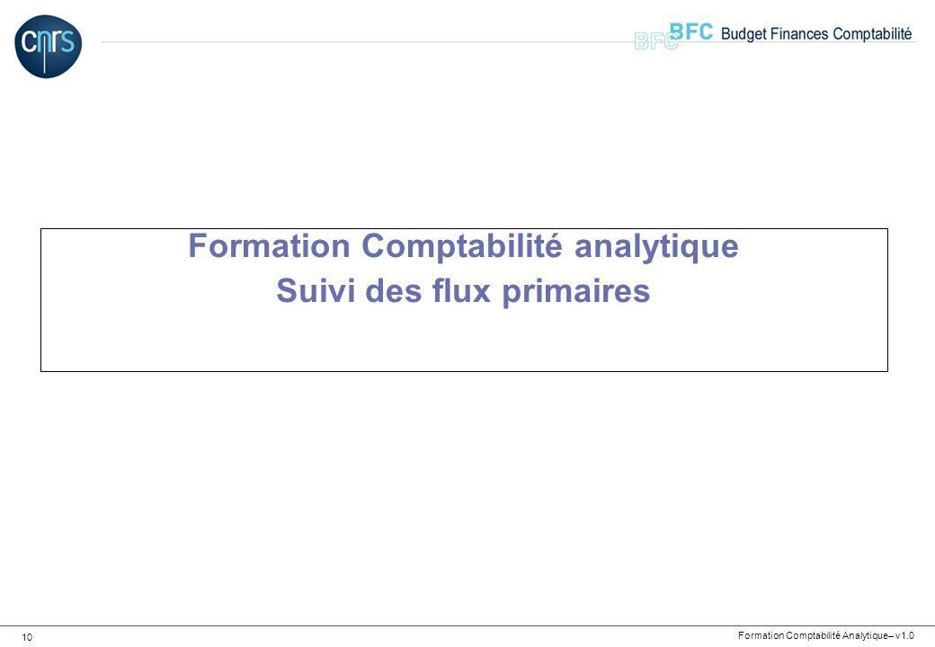 Formation Comptabilité Analytique– v1.0 10 Formation Comptabilité analytique Suivi des flux primaires