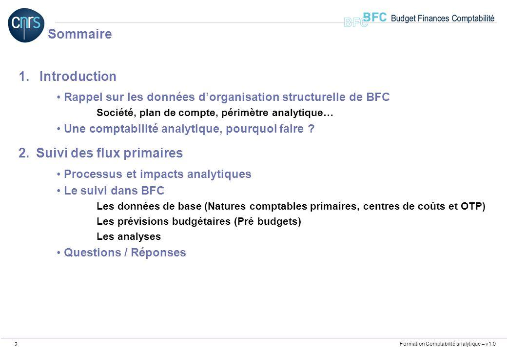Formation Comptabilité analytique – v1.0 2 1. Introduction Rappel sur les données dorganisation structurelle de BFC Société, plan de compte, périmètre