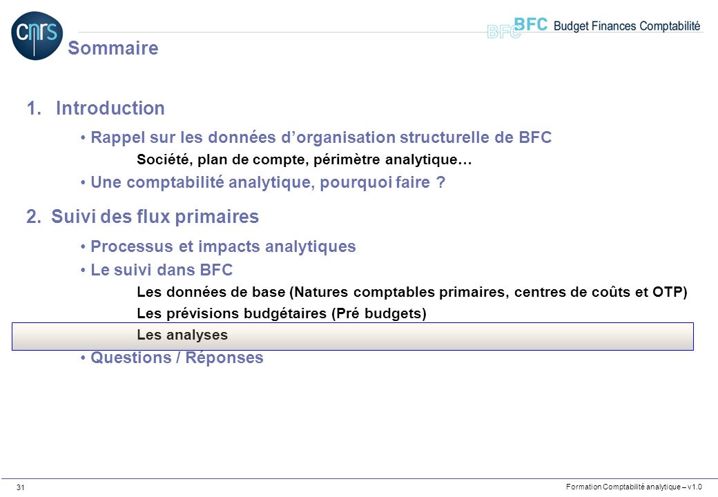 Formation Comptabilité analytique – v1.0 31 1. Introduction Rappel sur les données dorganisation structurelle de BFC Société, plan de compte, périmètr