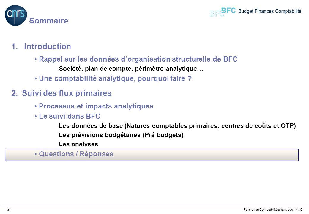 Formation Comptabilité analytique – v1.0 34 1. Introduction Rappel sur les données dorganisation structurelle de BFC Société, plan de compte, périmètr