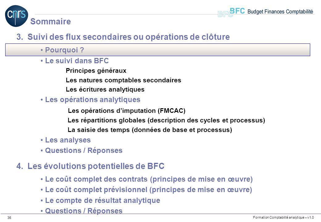 Formation Comptabilité analytique – v1.0 35 3.Suivi des flux secondaires ou opérations de clôture Pourquoi ? Le suivi dans BFC Principes généraux Les
