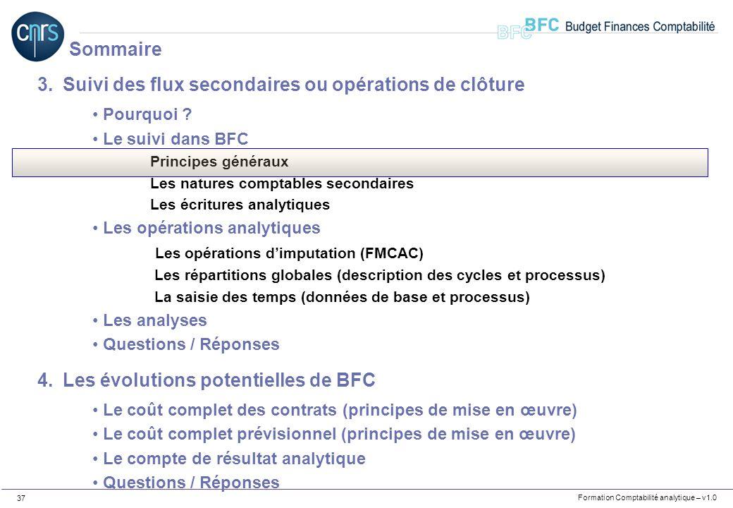 Formation Comptabilité analytique – v1.0 37 3.Suivi des flux secondaires ou opérations de clôture Pourquoi ? Le suivi dans BFC Principes généraux Les