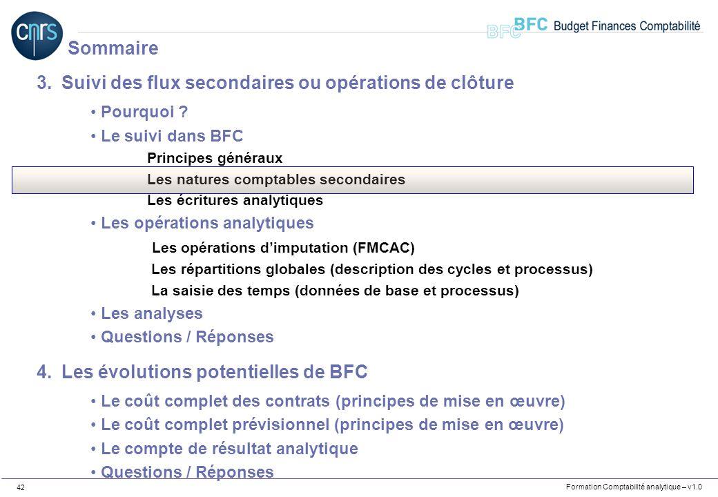 Formation Comptabilité analytique – v1.0 42 3.Suivi des flux secondaires ou opérations de clôture Pourquoi ? Le suivi dans BFC Principes généraux Les