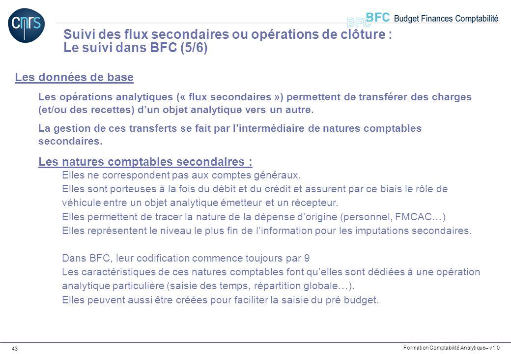 Formation Comptabilité Analytique– v1.0 43 Les données de base Les opérations analytiques (« flux secondaires ») permettent de transférer des charges