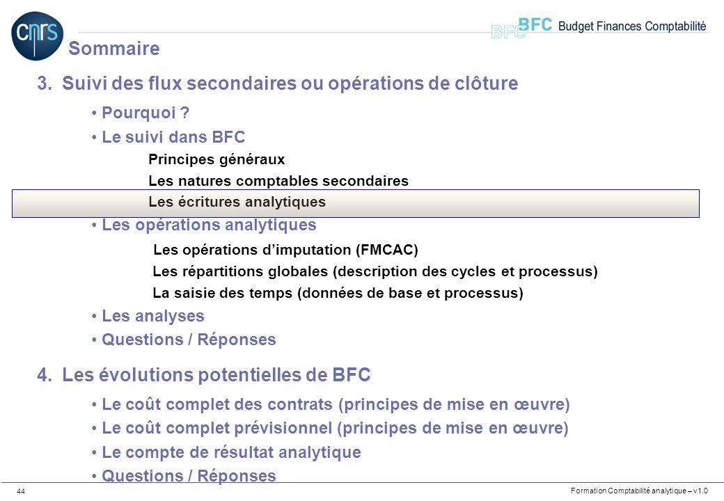 Formation Comptabilité analytique – v1.0 44 3.Suivi des flux secondaires ou opérations de clôture Pourquoi ? Le suivi dans BFC Principes généraux Les