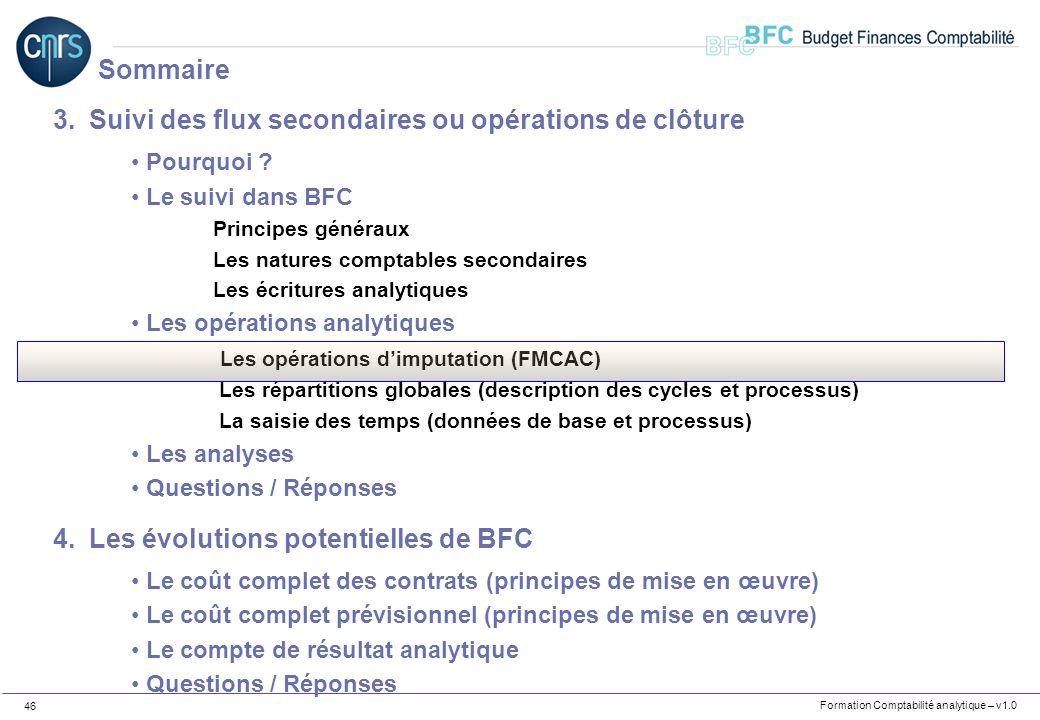 Formation Comptabilité analytique – v1.0 46 3.Suivi des flux secondaires ou opérations de clôture Pourquoi ? Le suivi dans BFC Principes généraux Les