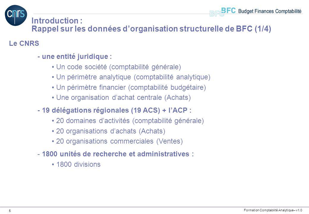 Formation Comptabilité Analytique– v1.0 5 Le CNRS - une entité juridique : Un code société (comptabilité générale) Un périmètre analytique (comptabili