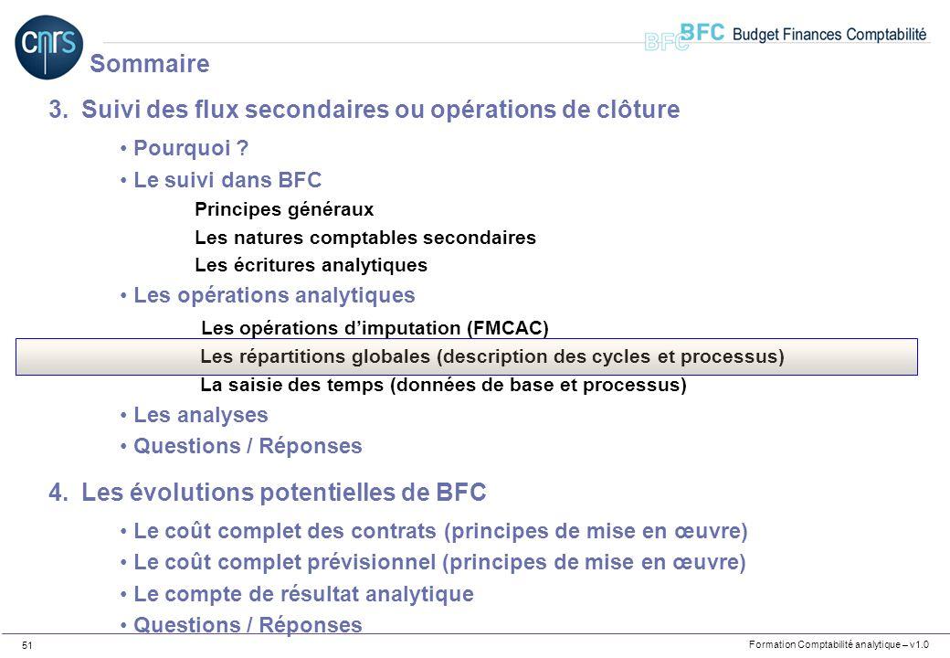 Formation Comptabilité analytique – v1.0 51 3.Suivi des flux secondaires ou opérations de clôture Pourquoi ? Le suivi dans BFC Principes généraux Les