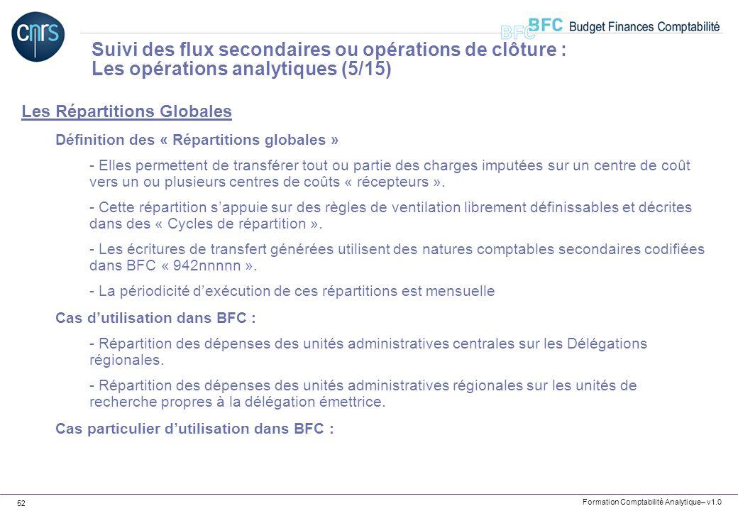 Formation Comptabilité Analytique– v1.0 52 Les Répartitions Globales Définition des « Répartitions globales » - Elles permettent de transférer tout ou