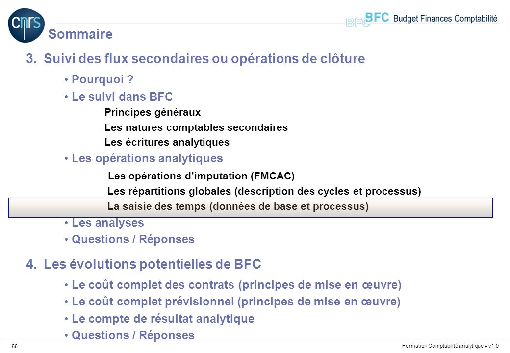Formation Comptabilité analytique – v1.0 58 3.Suivi des flux secondaires ou opérations de clôture Pourquoi ? Le suivi dans BFC Principes généraux Les