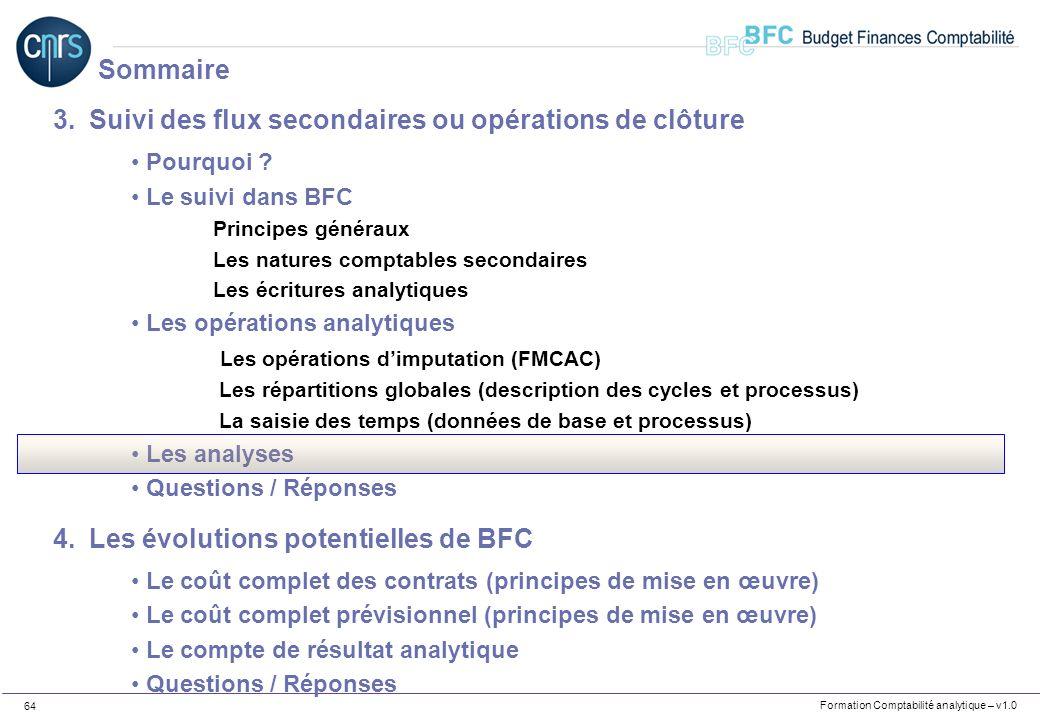 Formation Comptabilité analytique – v1.0 64 3.Suivi des flux secondaires ou opérations de clôture Pourquoi ? Le suivi dans BFC Principes généraux Les