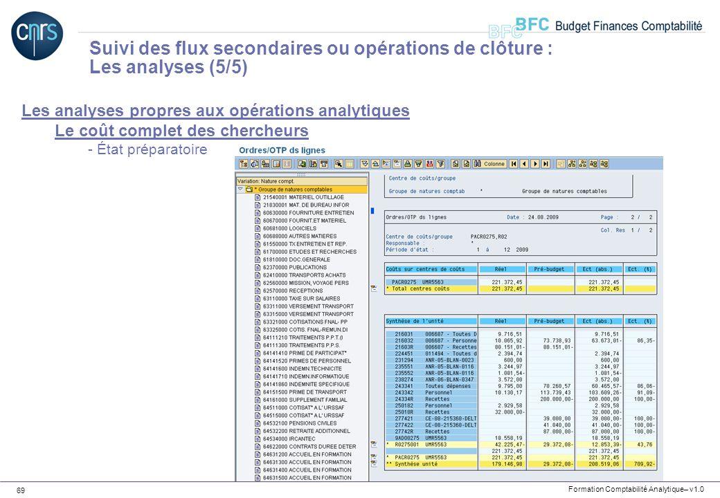 Formation Comptabilité Analytique– v1.0 69 Les analyses propres aux opérations analytiques Le coût complet des chercheurs - État préparatoire Suivi de