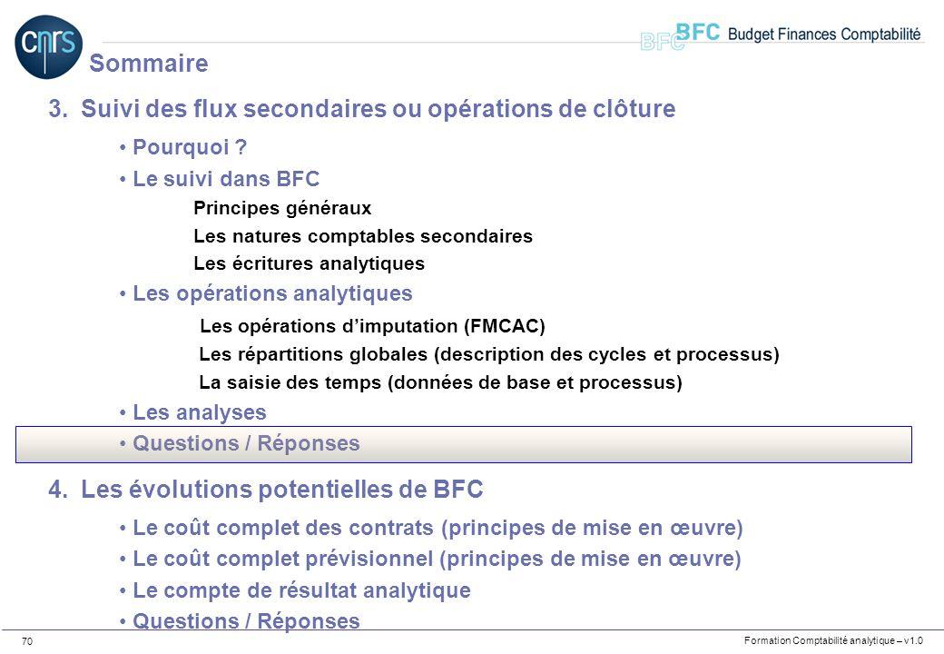 Formation Comptabilité analytique – v1.0 70 3.Suivi des flux secondaires ou opérations de clôture Pourquoi ? Le suivi dans BFC Principes généraux Les