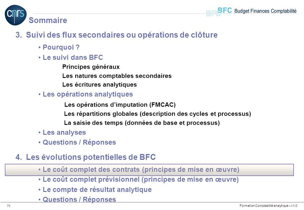 Formation Comptabilité analytique – v1.0 71 3.Suivi des flux secondaires ou opérations de clôture Pourquoi ? Le suivi dans BFC Principes généraux Les