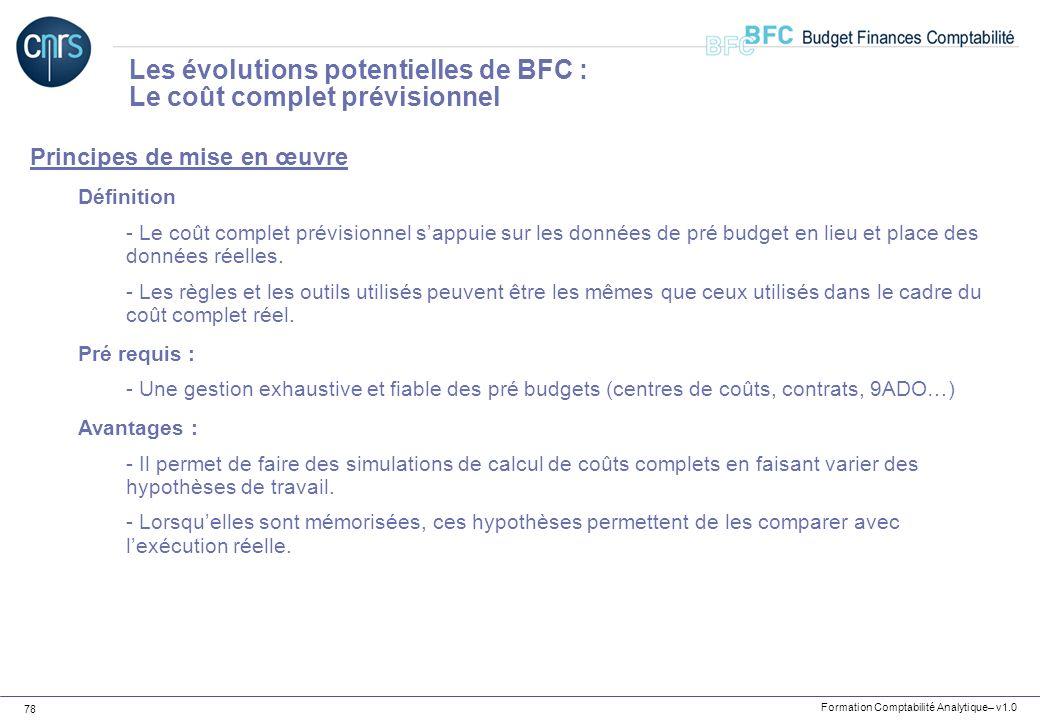 Formation Comptabilité Analytique– v1.0 78 Principes de mise en œuvre Définition - Le coût complet prévisionnel sappuie sur les données de pré budget