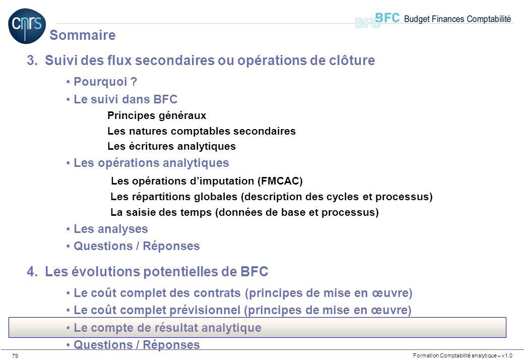Formation Comptabilité analytique – v1.0 79 3.Suivi des flux secondaires ou opérations de clôture Pourquoi ? Le suivi dans BFC Principes généraux Les