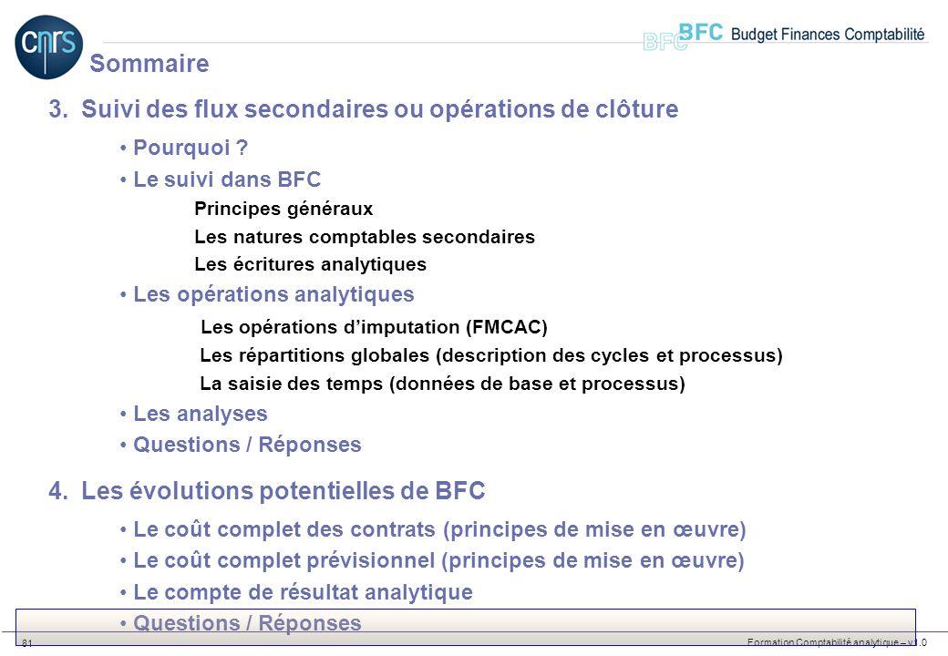 Formation Comptabilité analytique – v1.0 81 3.Suivi des flux secondaires ou opérations de clôture Pourquoi ? Le suivi dans BFC Principes généraux Les