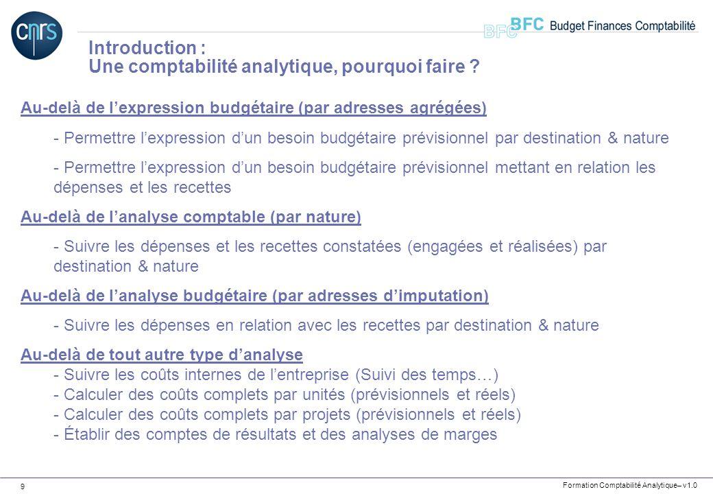 Formation Comptabilité Analytique– v1.0 9 Au-delà de lexpression budgétaire (par adresses agrégées) - Permettre lexpression dun besoin budgétaire prév