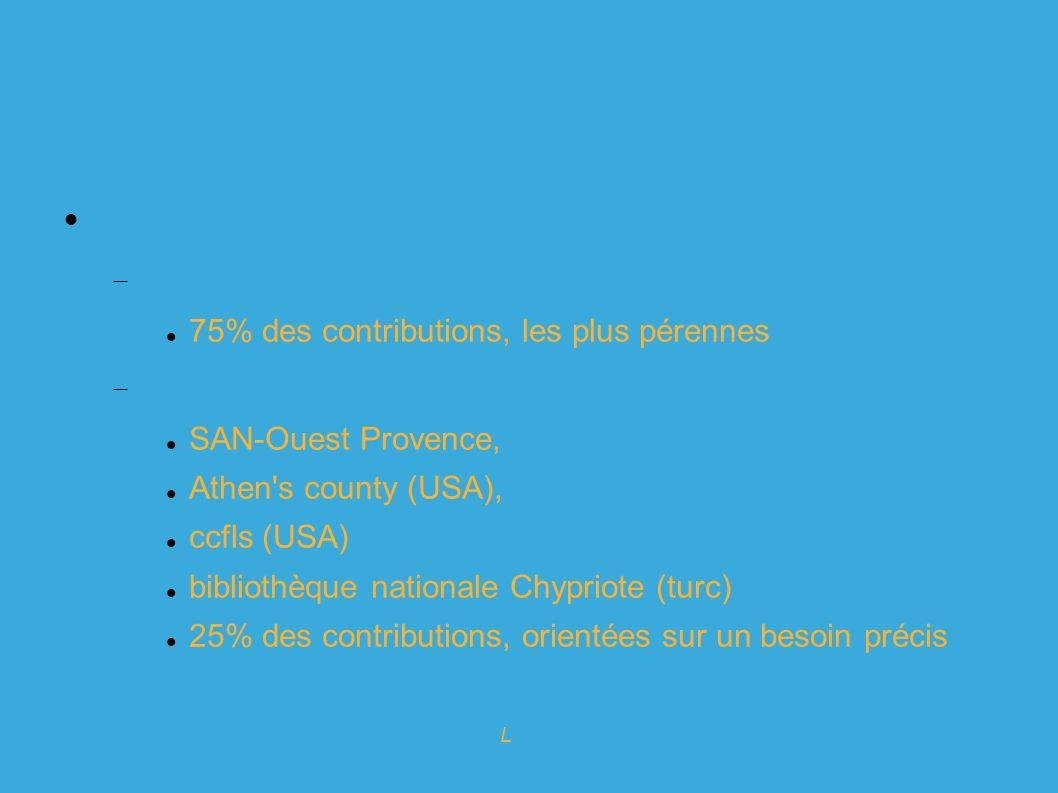 Expert en logiciels Libres pour l info-doc Koha : historique 40 contributeurs : Sociétés prestataires : 75% des contributions, les plus pérennes Bibliothèques utilisatrices : SAN-Ouest Provence, Athen s county (USA), ccfls (USA) bibliothèque nationale Chypriote (turc) 25% des contributions, orientées sur un besoin précis