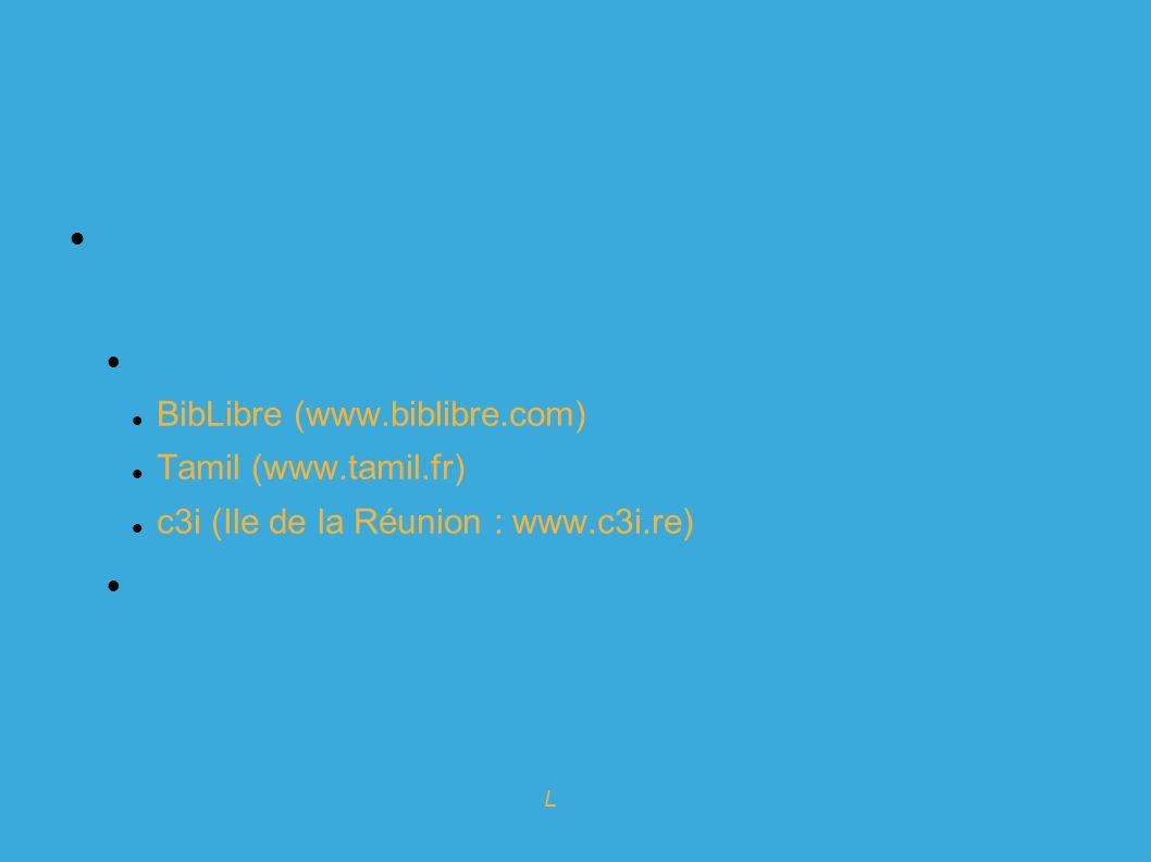 Expert en logiciels Libres pour l info-doc Koha : prestataires Plusieurs sociétés proposent des services commerciaux : En France : BibLibre (www.biblibre.com) Tamil (www.tamil.fr) c3i (Ile de la Réunion : www.c3i.re) A l étranger : LibLime (USA et Nouvelle(Zélande), Turo-tech (GB), inLibro au canada,...
