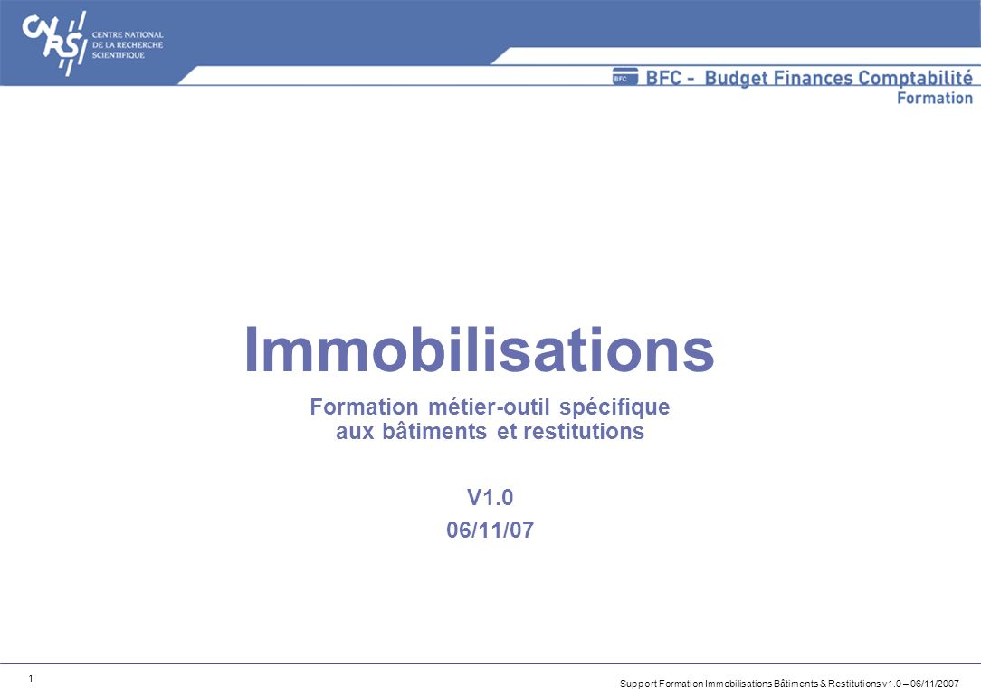 Support Formation Immobilisations Bâtiments & Restitutions v1.0 – 06/11/2007 1 Immobilisations Formation métier-outil spécifique aux bâtiments et rest