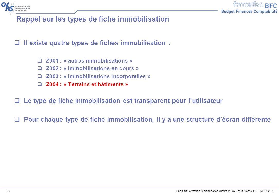 Support Formation Immobilisations Bâtiments & Restitutions v1.0 – 06/11/2007 10 Rappel sur les types de fiche immobilisation Il existe quatre types de