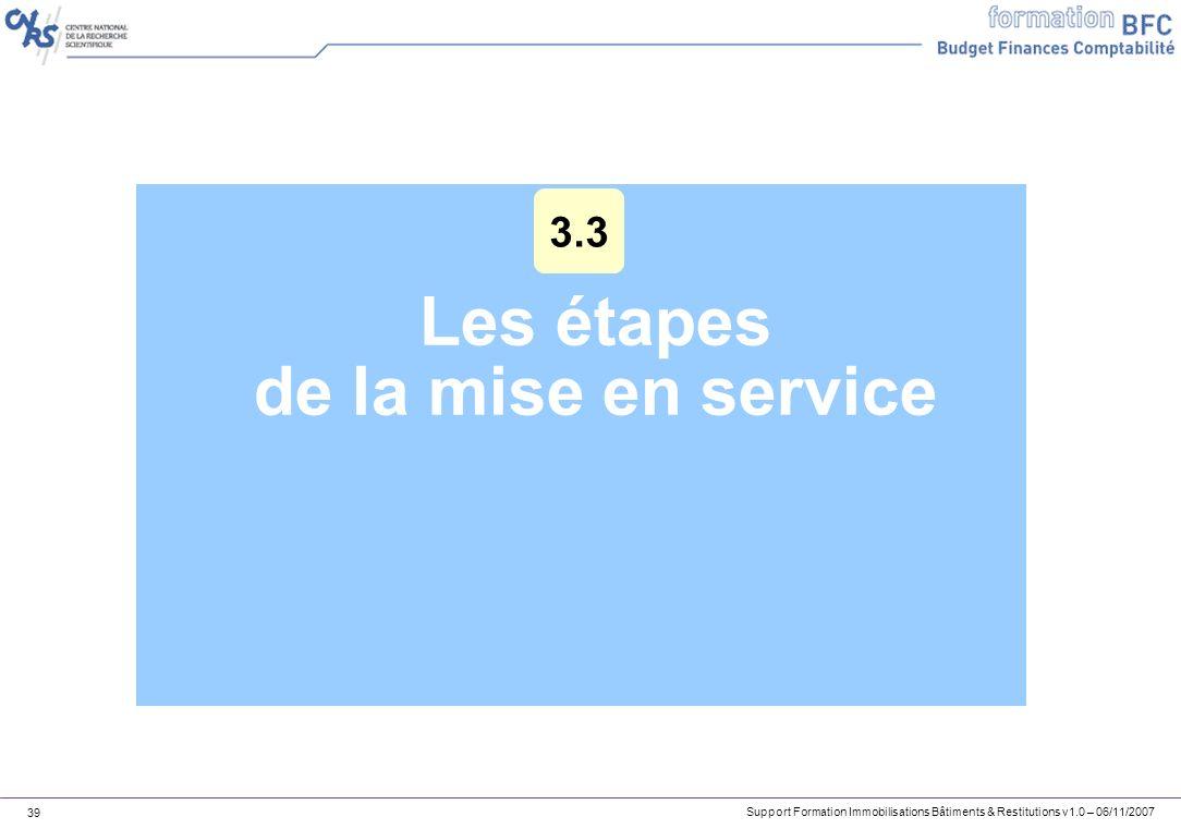 Support Formation Immobilisations Bâtiments & Restitutions v1.0 – 06/11/2007 39 Les étapes de la mise en service 3.3