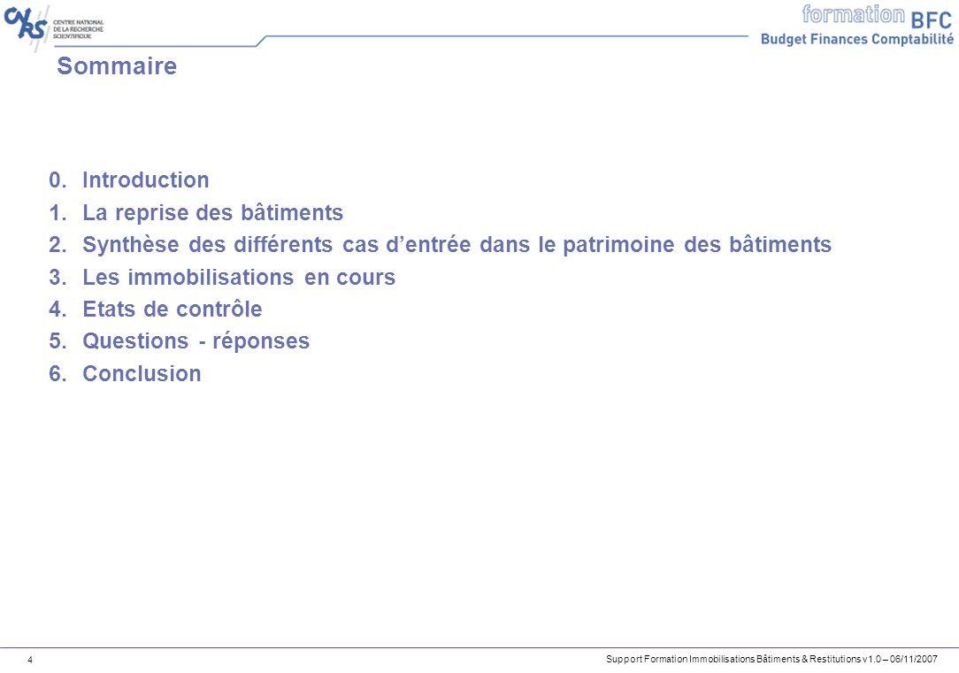 Support Formation Immobilisations Bâtiments & Restitutions v1.0 – 06/11/2007 4 Sommaire 0.Introduction 1.La reprise des bâtiments 2.Synthèse des diffé