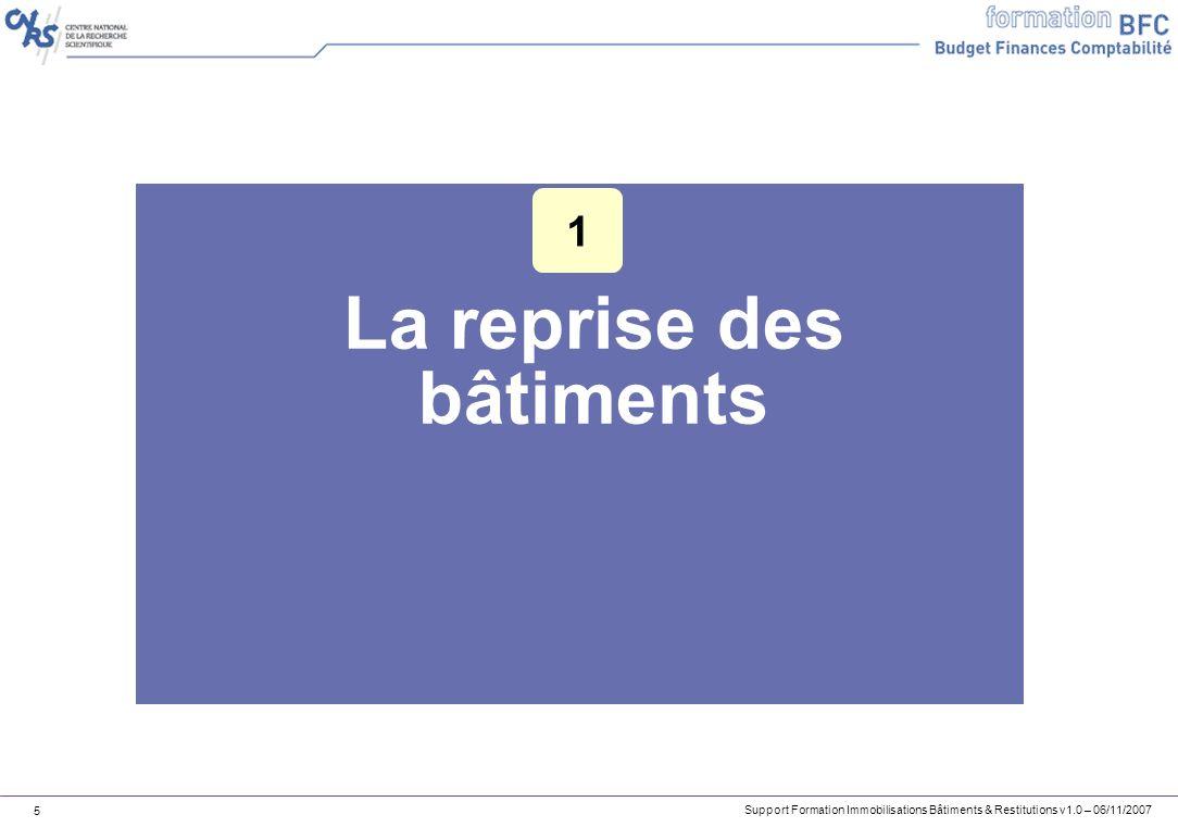 Support Formation Immobilisations Bâtiments & Restitutions v1.0 – 06/11/2007 16 Exercice 1 – Recherche de fiche immobilisation bâtiment 1.Recherchez une fiche immobilisation dont le numéro TGPE est 0600303238501112018.