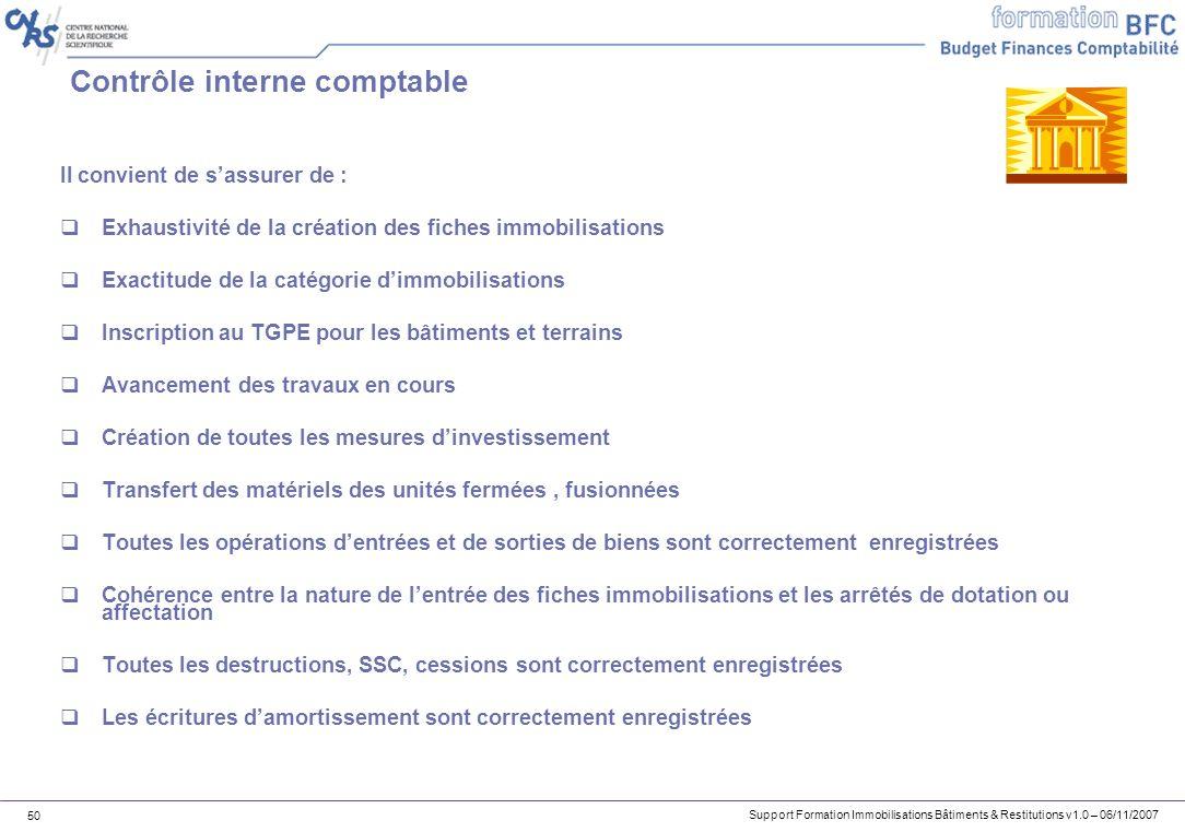 Support Formation Immobilisations Bâtiments & Restitutions v1.0 – 06/11/2007 50 Contrôle interne comptable Il convient de sassurer de : Exhaustivité d