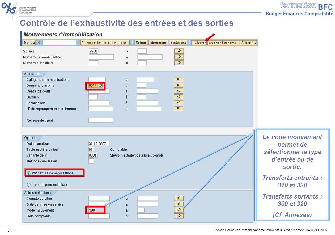 Support Formation Immobilisations Bâtiments & Restitutions v1.0 – 06/11/2007 54 Contrôle de lexhaustivité des entrées et des sorties Le code mouvement