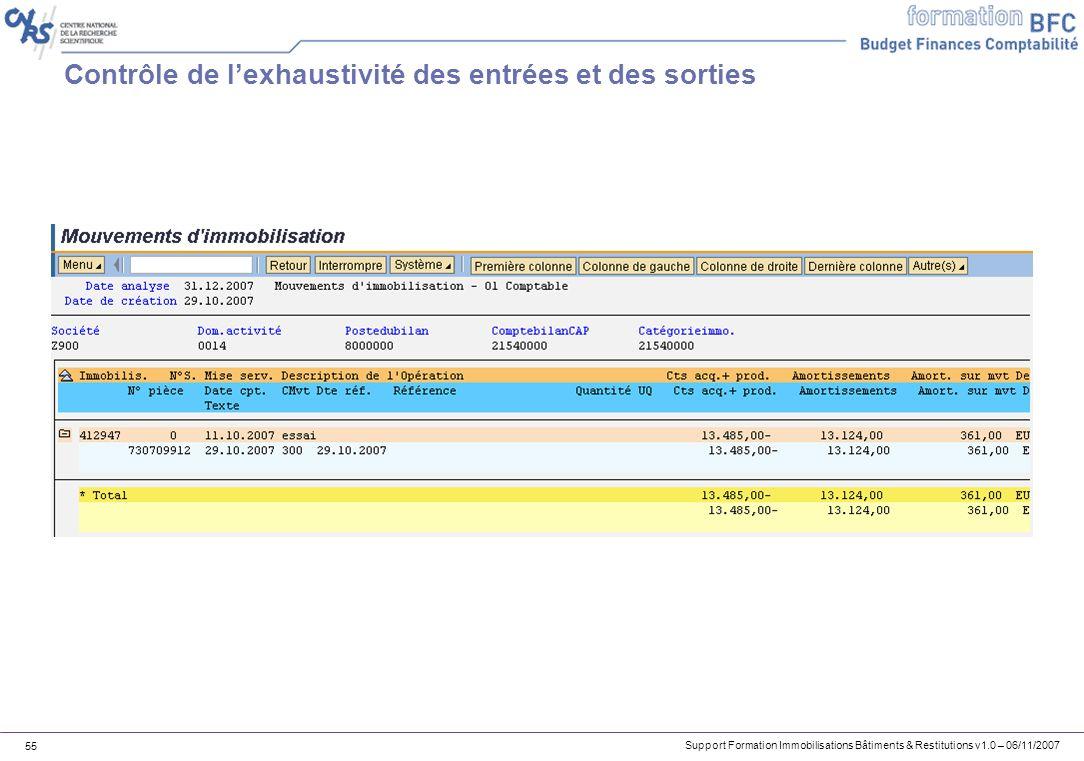 Support Formation Immobilisations Bâtiments & Restitutions v1.0 – 06/11/2007 55 Contrôle de lexhaustivité des entrées et des sorties