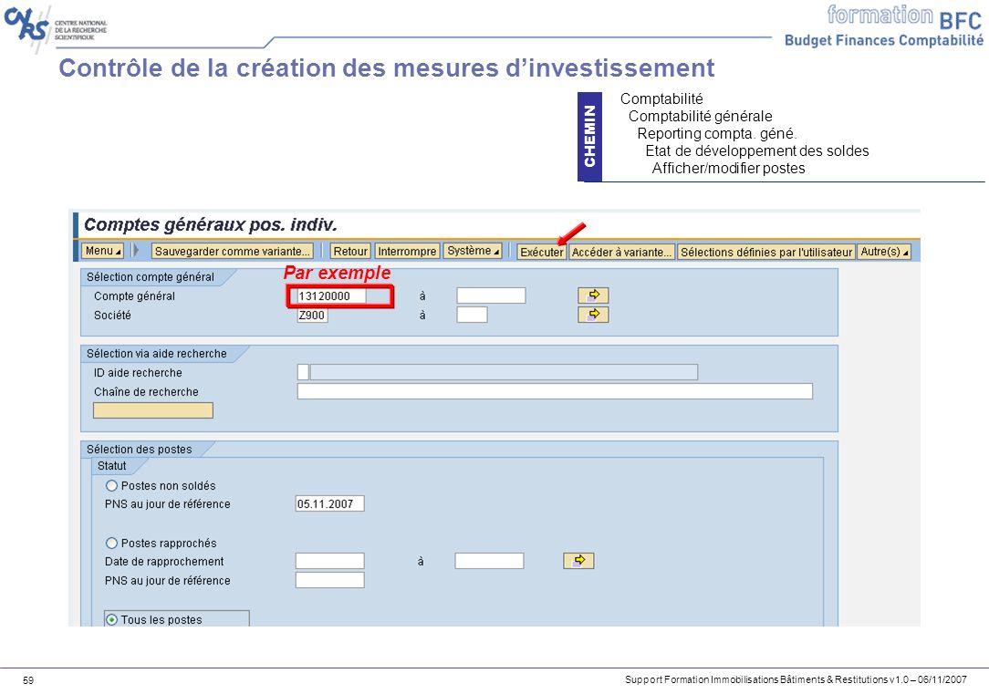 Support Formation Immobilisations Bâtiments & Restitutions v1.0 – 06/11/2007 59 Contrôle de la création des mesures dinvestissement CHEMIN Comptabilit