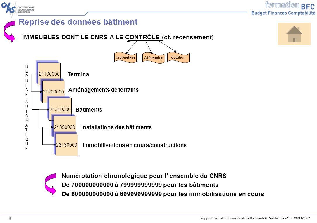 Support Formation Immobilisations Bâtiments & Restitutions v1.0 – 06/11/2007 47 Exercice 3 – Exercice de mise en service dune immobilisation en cours PARTIE 1 1.Créez la fiche immobilisation définitive relative à lIBPC (exercice 2).
