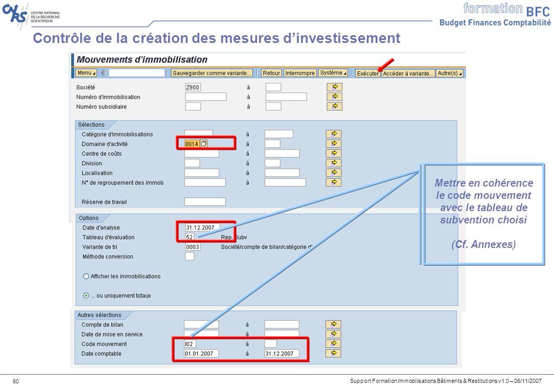 Support Formation Immobilisations Bâtiments & Restitutions v1.0 – 06/11/2007 60 Contrôle de la création des mesures dinvestissement Mettre en cohérenc
