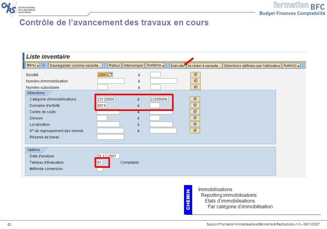 Support Formation Immobilisations Bâtiments & Restitutions v1.0 – 06/11/2007 62 Contrôle de lavancement des travaux en cours CHEMIN Immobilisations Re