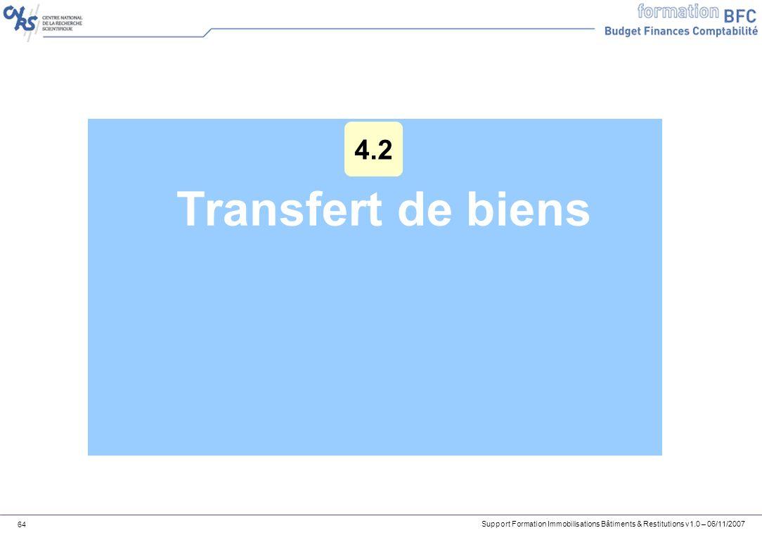 Support Formation Immobilisations Bâtiments & Restitutions v1.0 – 06/11/2007 64 Transfert de biens 4.2