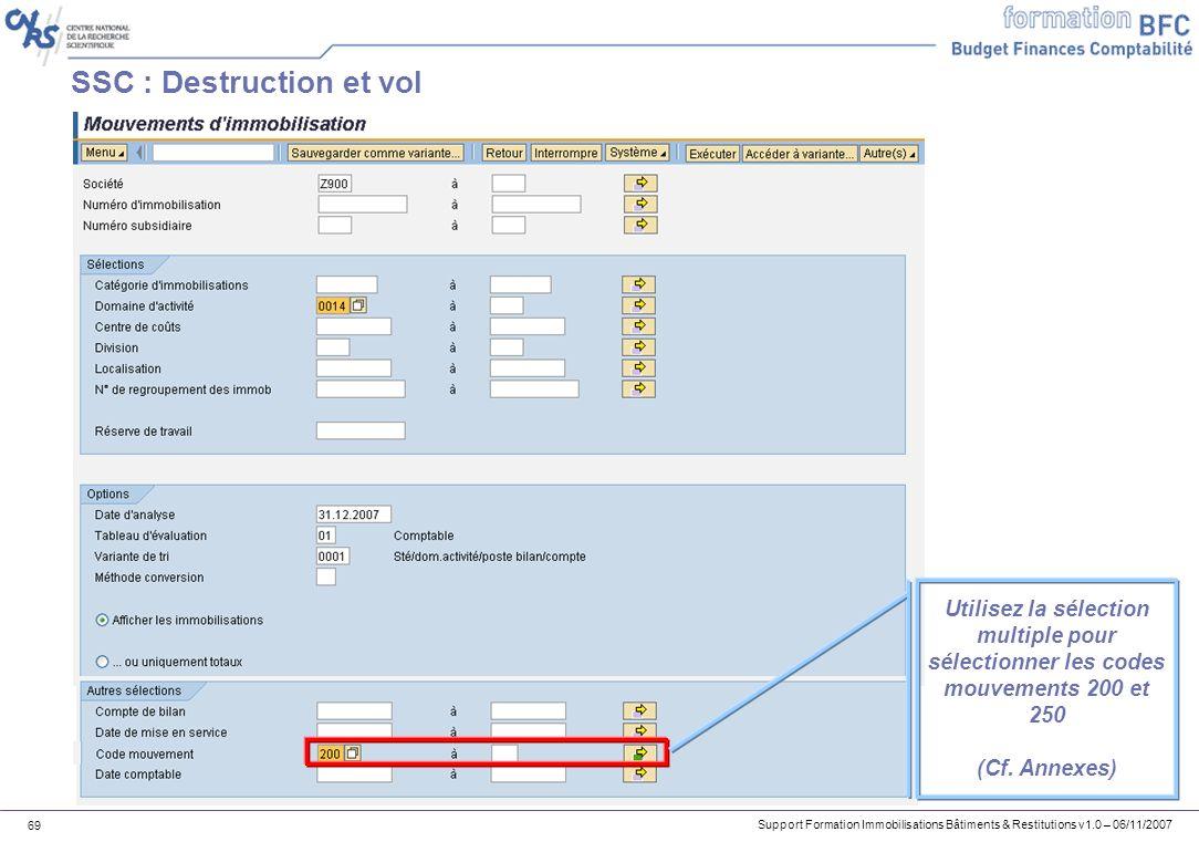 Support Formation Immobilisations Bâtiments & Restitutions v1.0 – 06/11/2007 69 SSC : Destruction et vol Utilisez la sélection multiple pour sélection