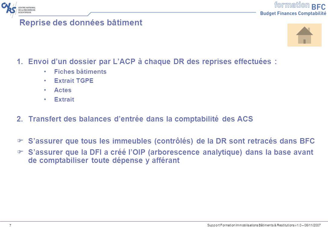 Support Formation Immobilisations Bâtiments & Restitutions v1.0 – 06/11/2007 7 Reprise des données bâtiment 1.Envoi dun dossier par LACP à chaque DR d