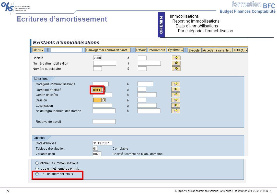 Support Formation Immobilisations Bâtiments & Restitutions v1.0 – 06/11/2007 72 Ecritures damortissement CHEMIN Immobilisations Reporting immobilisati