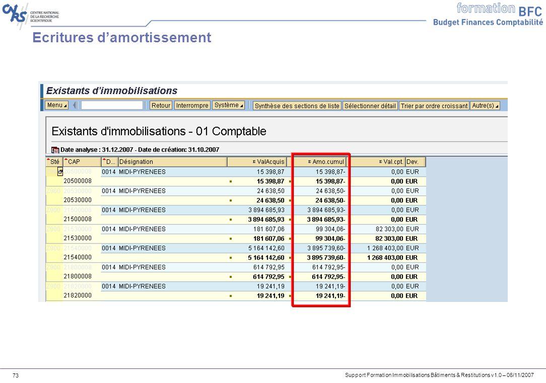 Support Formation Immobilisations Bâtiments & Restitutions v1.0 – 06/11/2007 73 Ecritures damortissement